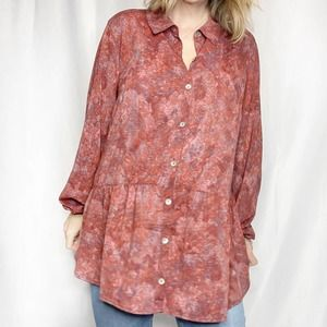 LOGO Red Floral Abstract Tunic